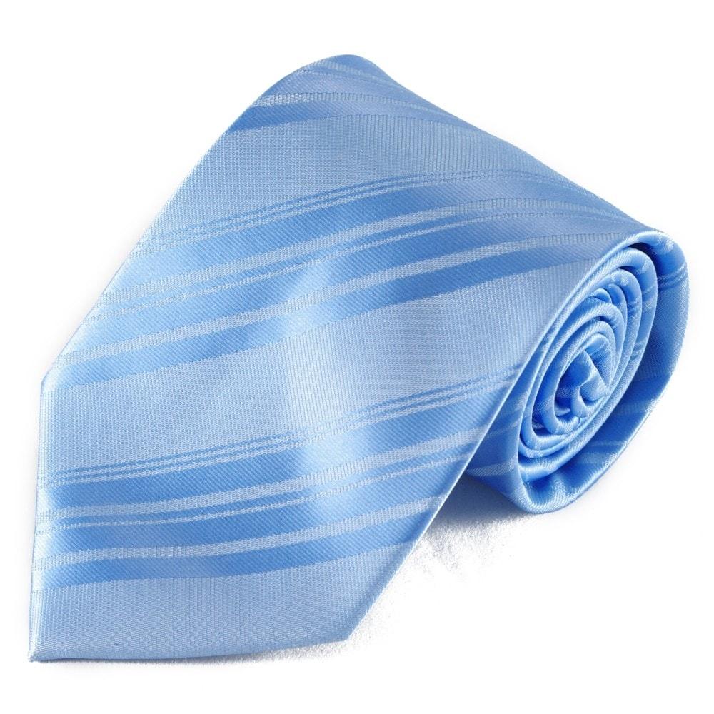 Světle modrá pruhovaná mikrovláknová kravata