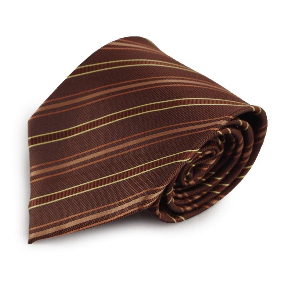 Hnědá proužkovaná mikrovláknová kravata