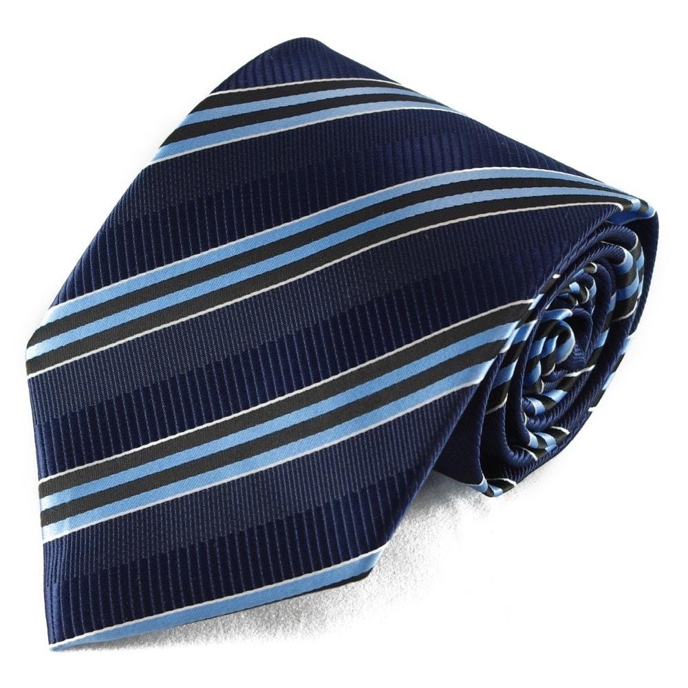 Modrá pruhovaná mikrovláknová kravata