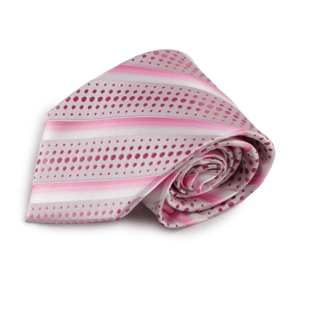 Růžová proužkovaná mikrovláknová kravata s puntíkovaným vzorem