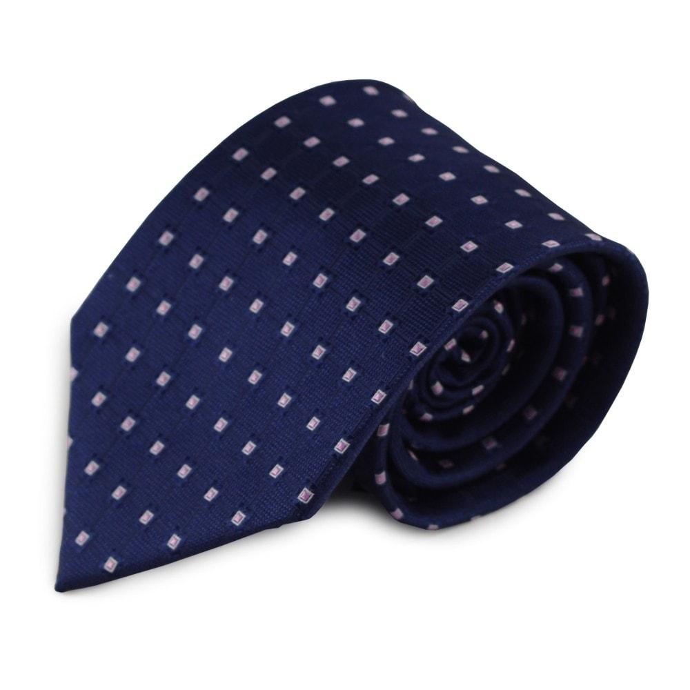 Modrá hedvábná kravata s kostičkovým vzorem (růžová, bílá)