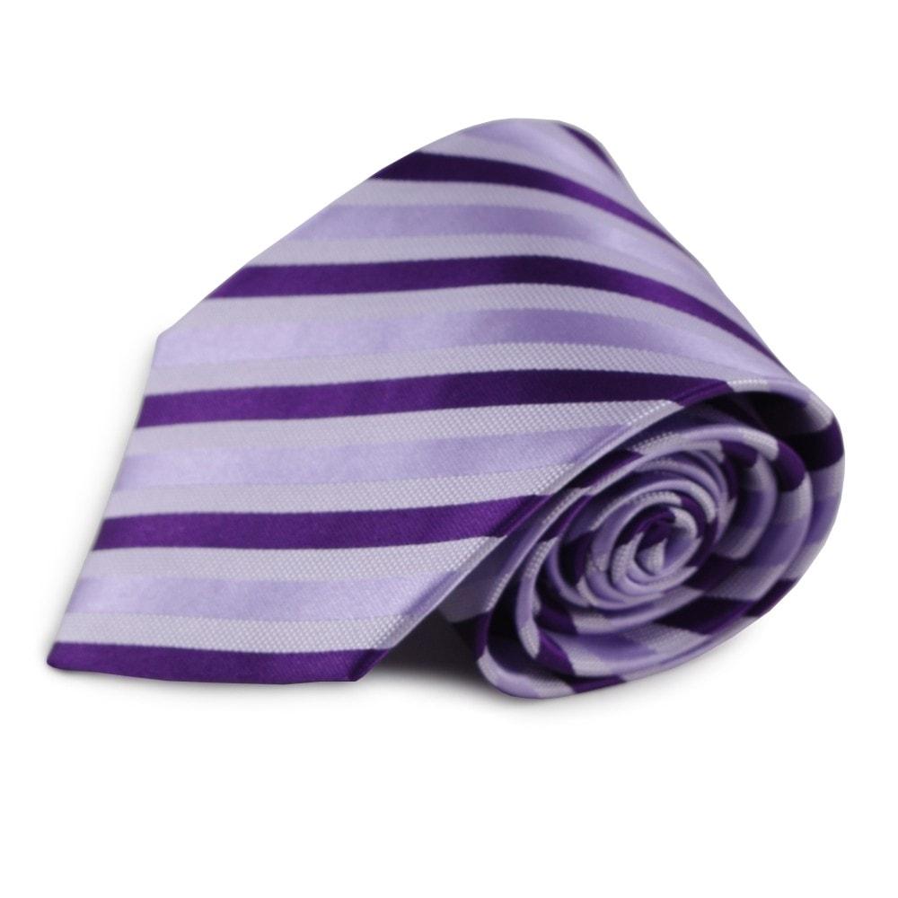 Fialová proužkovaná hedvábná kravata