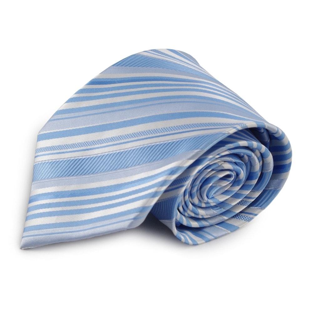 Světle modrá mikrovláknová kravata s pruhy (bílá)