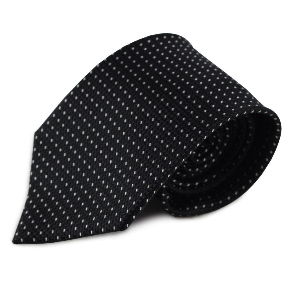 Černá hedvábná kravata s decentním bílým vzorkem
