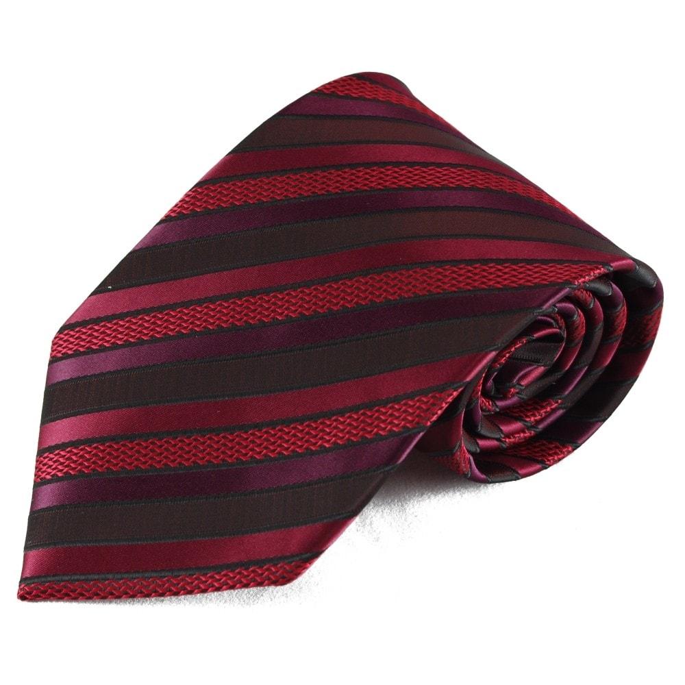 Pruhovaná mikrovláknová kravata - černá a červená