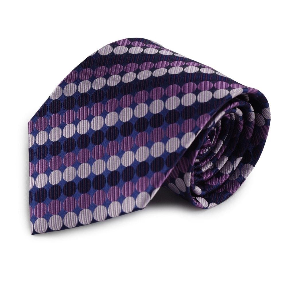 Modrá hedvábná kravata s fialovými puntíky