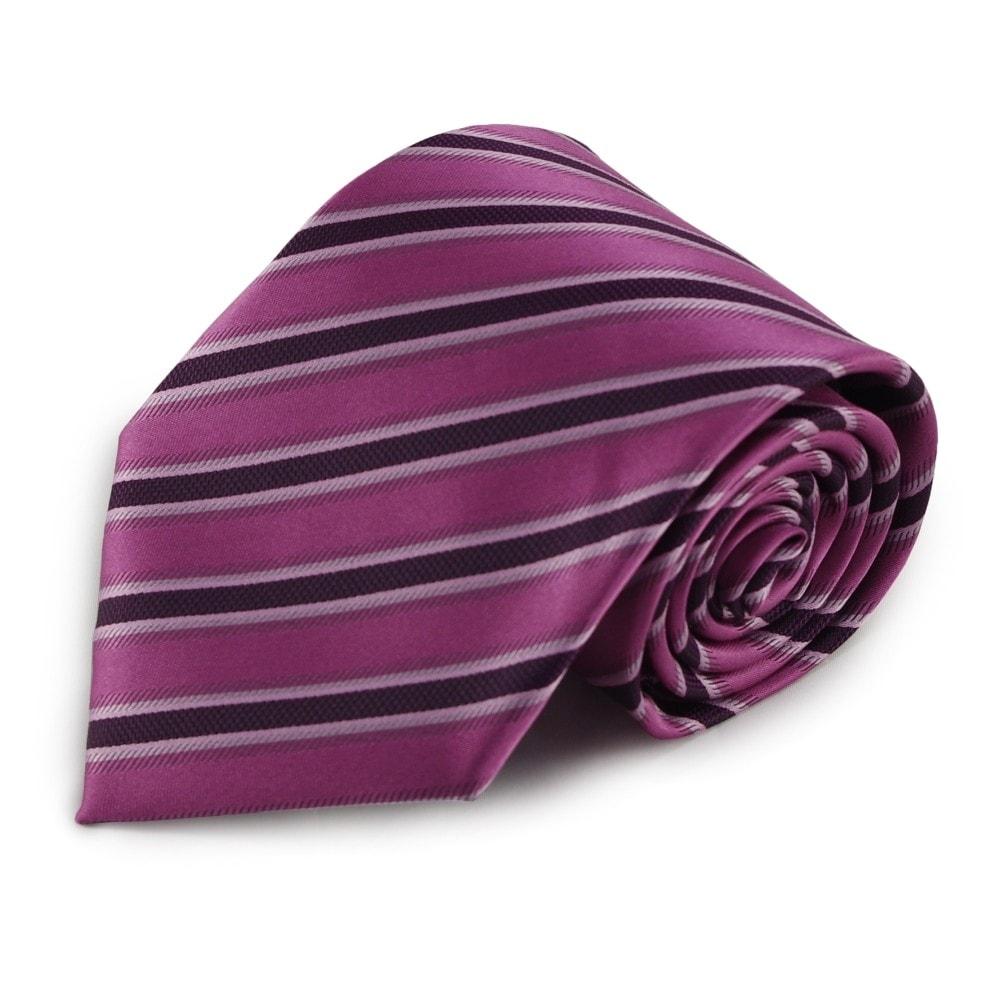 Proužkovaná mikrovláknová kravata (tmavě růžová, fialová)