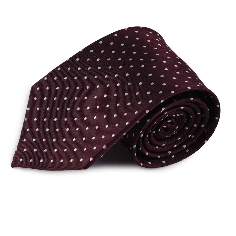 Hedvábná kravata (tmavě bordó) s tečkami