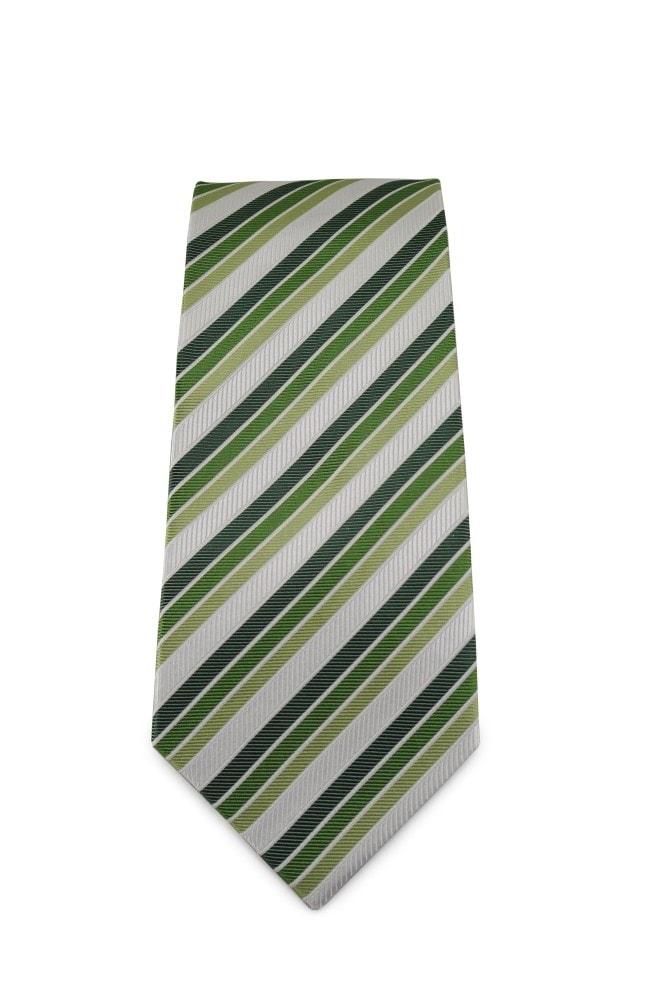 bf8fde42d80 Zelená proužkovaná hedvábná kravata Zelená proužkovaná hedvábná kravata ...