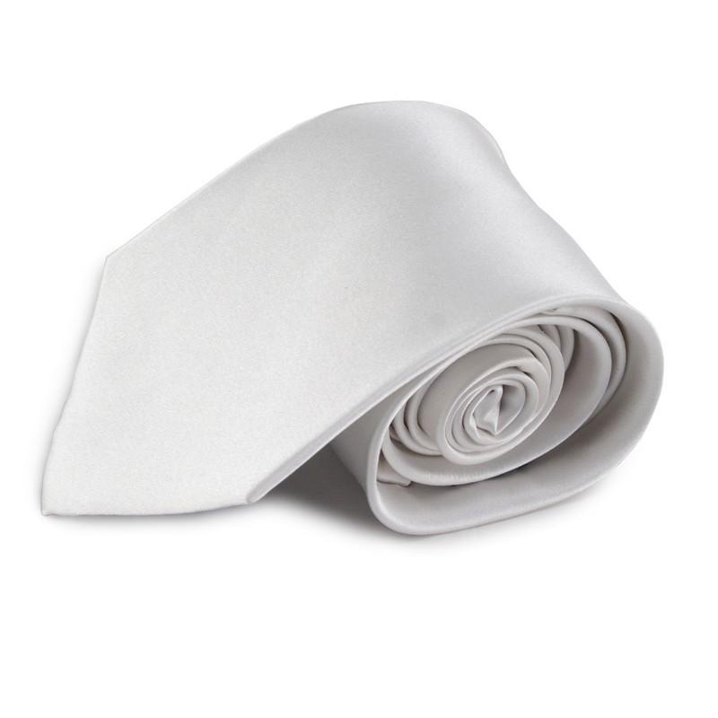 Bílá jednobarevná hedvábná kravata
