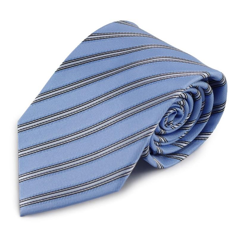 Modrá hedvábná kravata s proužkovým vzorem (bílá, černá)