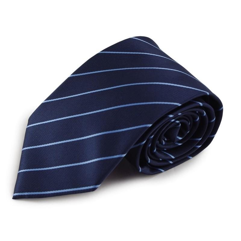 Modrá proužkovaná mikrovláknová kravata