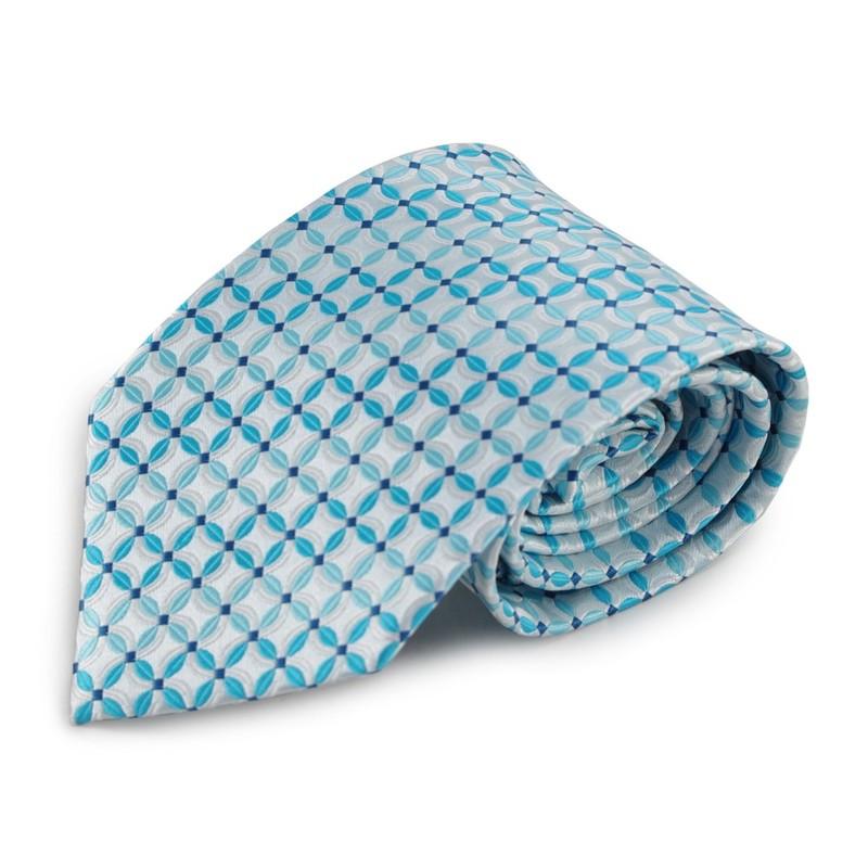 Světle modrá (tyrkysová) mikrovláknová kravata s atypickým vzorem