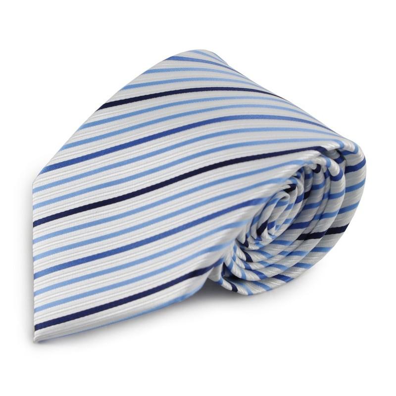 Proužkovaná mikrovláknová kravata (bílá, modrá)