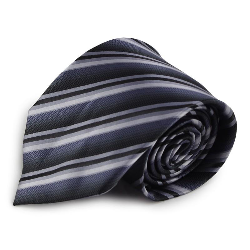 Šedá proužkovaná mikrovláknová kravata