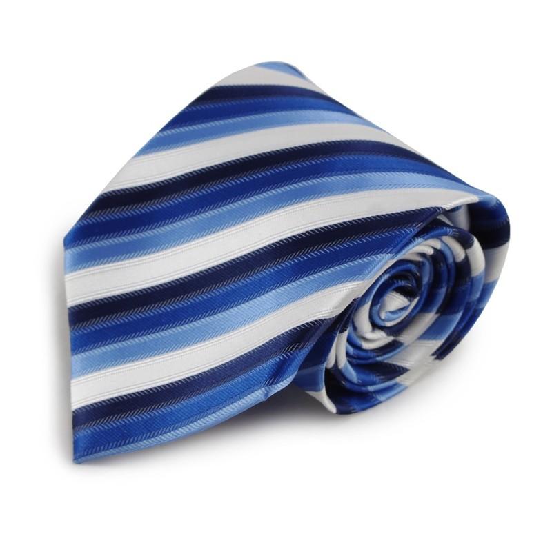 Modrá mikrovláknová kravata s proužky (bílá)
