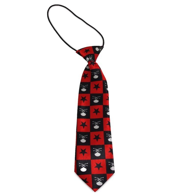 Dětská kravata s obrácenými lebkami (černá, červená, bílá)