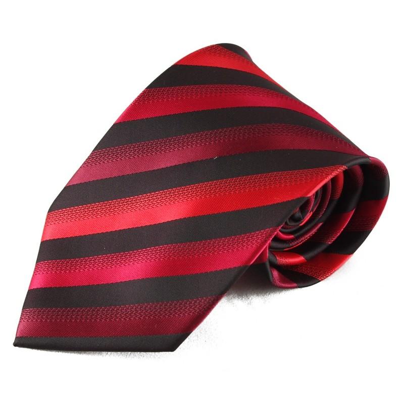 Mikrovláknová kravata s pruhy - červená a černá