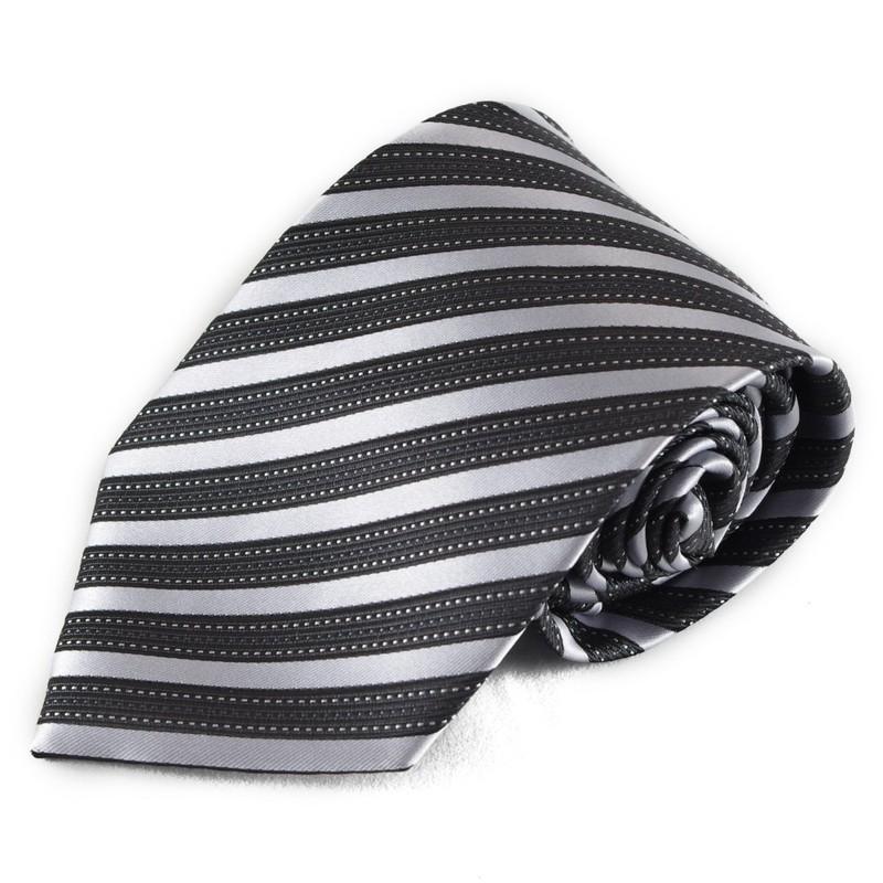 Pruhovaná mikrovláknová kravata - černá a stříbrná
