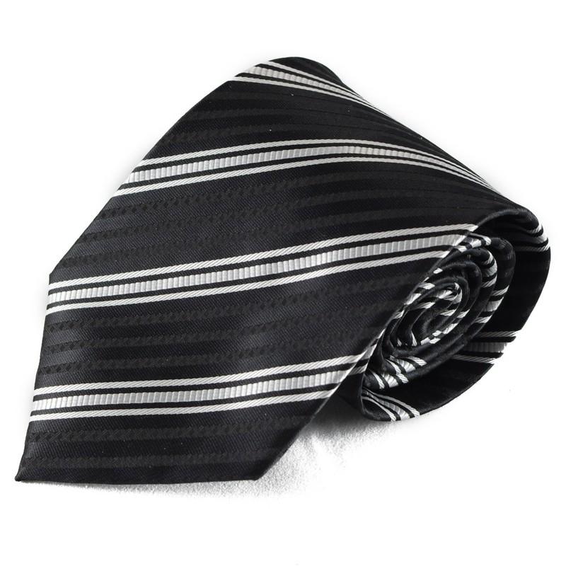 Pruhovaná mikrovláknová kravata - černá a bílá