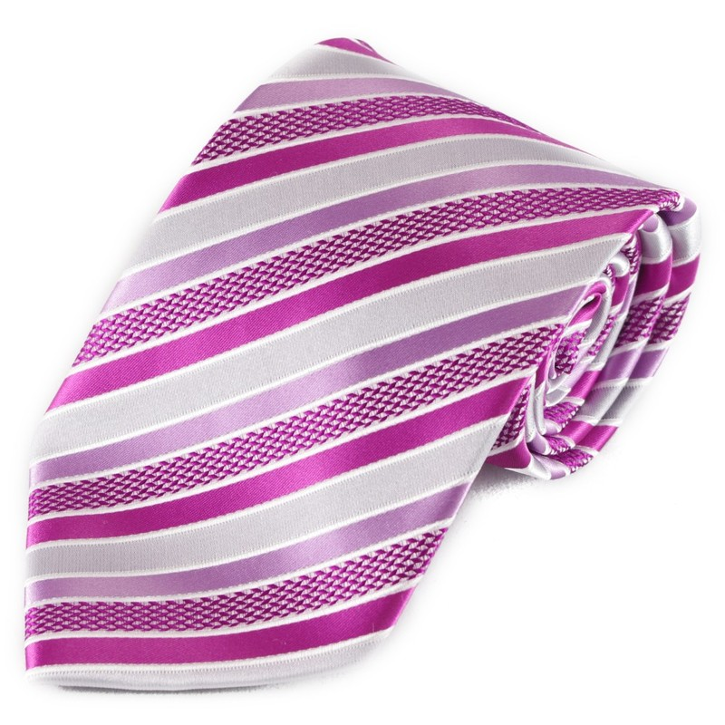 Pruhovaná mikrovláknová kravata - tmavě růžová a stříbrná