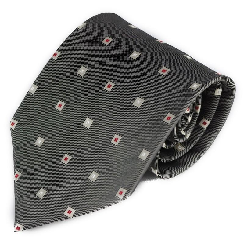 Šedá hedvábná kravata s miniproužky a čtverci